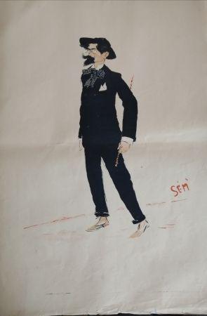 Lithographie Goursat - SEM - Caricature Album Marseillais