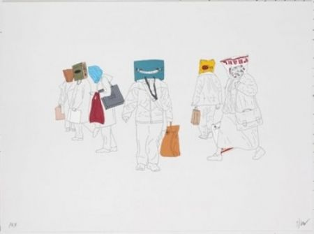 Lithographie Partegas - Shopping Heads