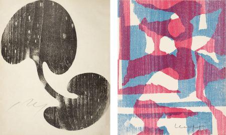 Gravure Sur Bois Arp - Siamesisches Blatt : ONZE PEINTRES VUS PAR ARP. 1949. Deluxe.