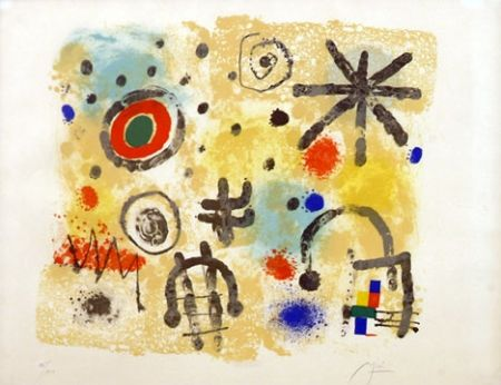 Lithographie Miró - Signs and Meteors (1958)