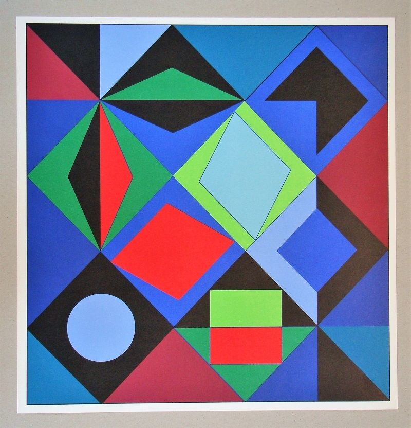 Sérigraphie Vasarely - Sikra - 1966