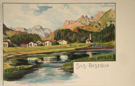 Lithographie Giacometti - Sils-Baseglia / Samaden / Sils-Maria / Silva Plana mit Piz Margna / Maloja / Der Schafberg