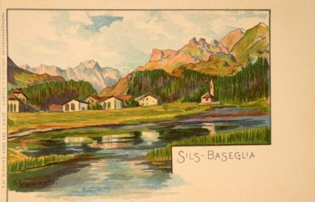 Lithographie Giacometti - Sils-Baseglia / Samaden / Sils-Maria / Silva Plana mit Piz Margna / Maloja / St.Moritz / Der Schafberg / Forno-Gletscher.