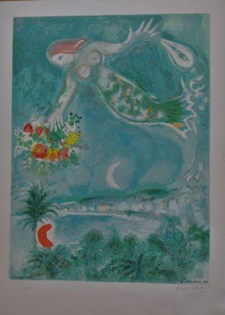 Lithographie Chagall - Sirène Et Poissons, From Nice Et La Côte D'azur (C.s. 28)