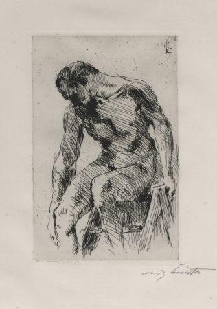 Eau-Forte Corinth - Sitzender männlicher Akt