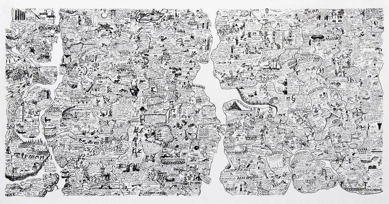 Sérigraphie Fahlström - Sketch for World Map from the Peace Portfolio