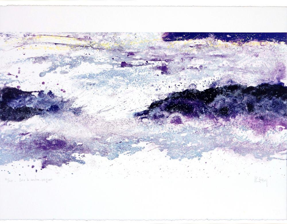 Lithographie Stholl - Soir à contre-vagues