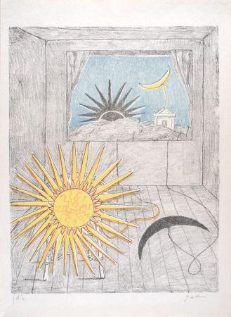 Lithographie De Chirico - Sole e luna in una stanza