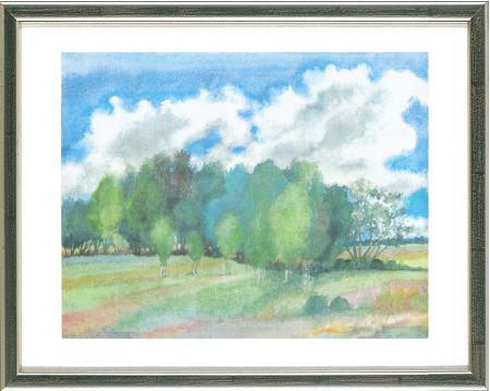 Lithographie Grass - Sommerlandschaft mit Birken