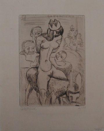 Gravure Gromaire - Sorcière sur un âne