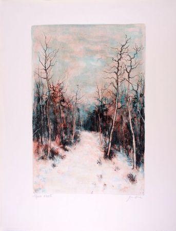Lithographie Gantner - Sous la Neige - Under Snow