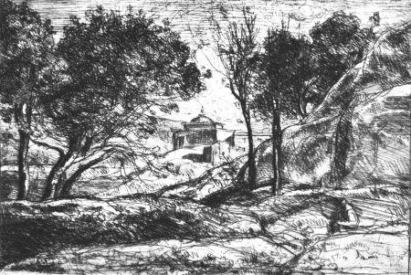 Eau-Forte Corot - Souvenir de Toscane