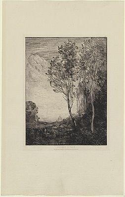 Gravure Corot - Souvenir d'Italie, in