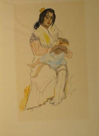 Lithographie Orlik - Spanische Zigeunerin mit Kind, Sevilla