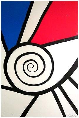 Lithographie Calder - Spirale Rouge Et Bleu (1969)