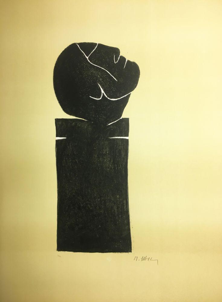 Lithographie Ubac - STÈLE TÊTE LEVÉE . Lithograpie originale signée au crayon (1982).