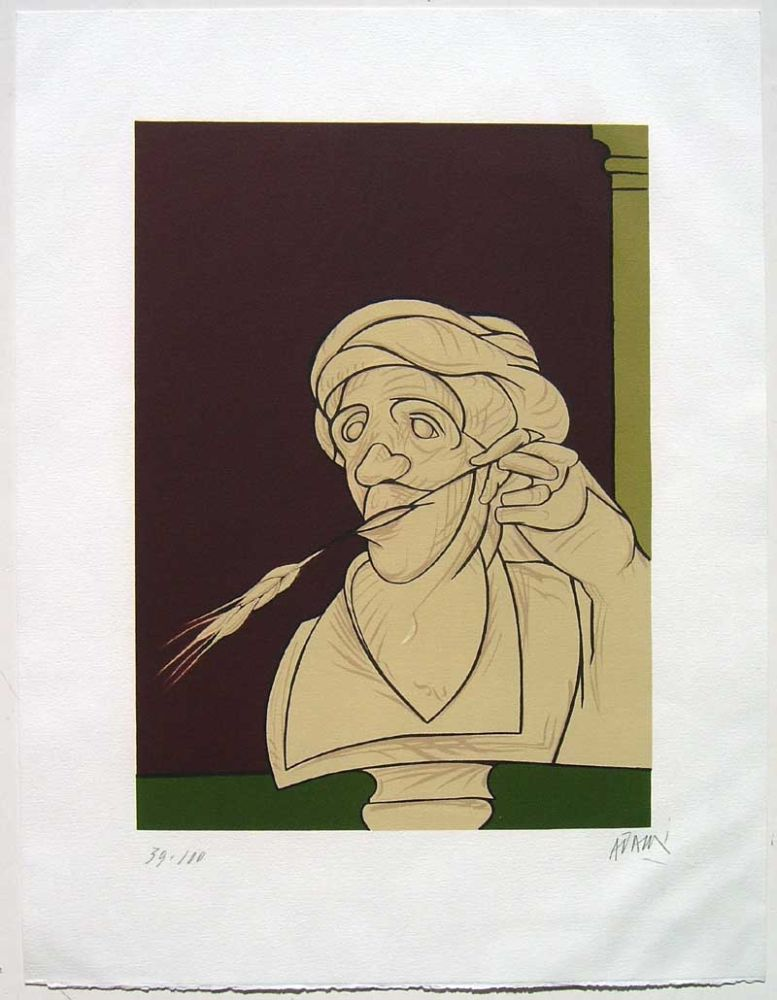 Lithographie Adami - Stèle