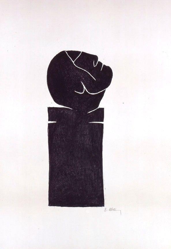 Lithographie Ubac - Stèle tête levée