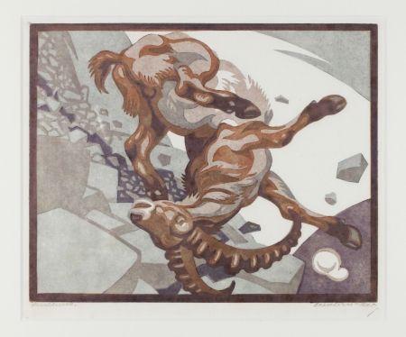 Linogravure Bresslern-Roth - Stürzender Steinbock (Falling Ibex)