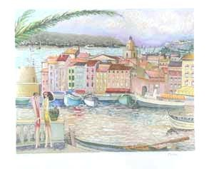Lithographie Dilley - St tropez