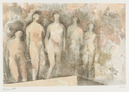 Lithographie Moore - Standing Nudes