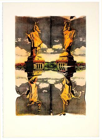 Lithographie Bury - Statue de la liberté