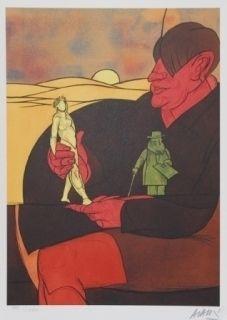 Lithographie Adami - Statuette