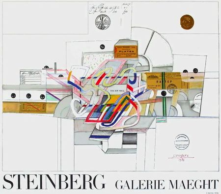 Affiche Steinberg - STEINBERG 1970. Galerie Maeght. Affiche en lithographie.