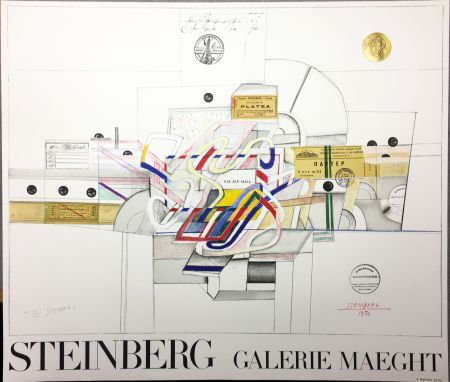 Lithographie Steinberg - STEINBERG 1970. Galerie Maeght. Lithographie signée par l'artiste.