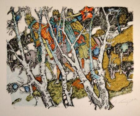 Lithographie Carigiet - Sternsinger  (Die Drei Könige hinter Birken)