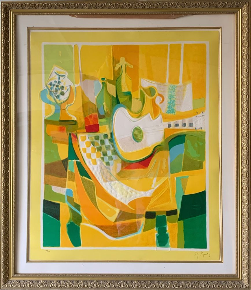 Eau-Forte Et Aquatinte Mouly - Still Life in Yellow with Guitar