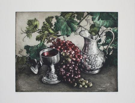 Eau-Forte Et Aquatinte Rusch - Stilleben mit Wein / Still Life with Wine
