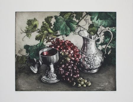 Eau-Forte Et Aquatinte Rusch - Stilleben mit Wein / Still Life with Wine
