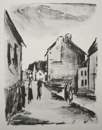 Lithographie Vlaminck - Street Scene