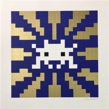Sérigraphie Space Invader - Sunset (Gold & Blue)