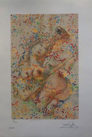 Lithographie Dali - Suonatrice di Mandolino