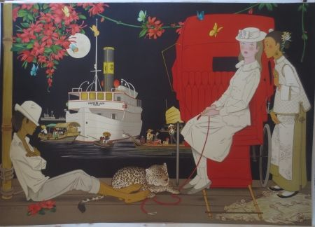 Lithographie Noyer - Sur le port