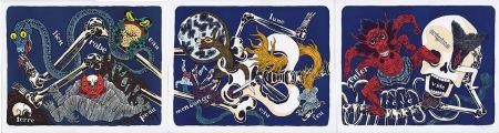 Lithographie David B - Sur le Squelette d'Ikkyu