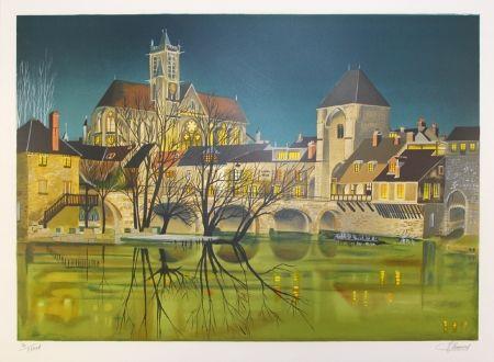 Lithographie Lecoindre - Sur les bords du fleuve