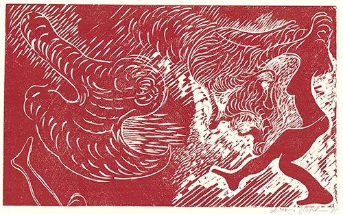 Linogravure Höckelmann - Surferin (Rot)