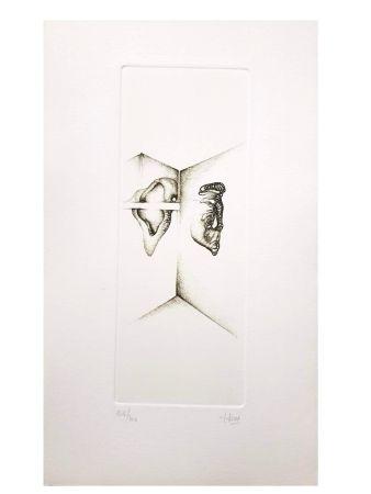Lithographie Deux - Surréalisme Gris I