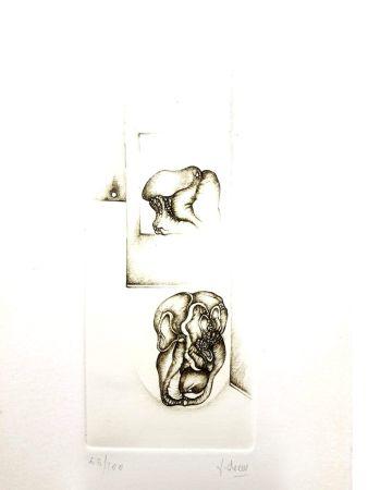 Lithographie Deux - Surréalisme Gris II