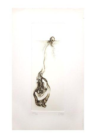Lithographie Deux - Surréalisme Gris III