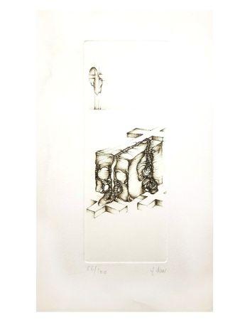 Lithographie Deux - Surréalisme Gris IV