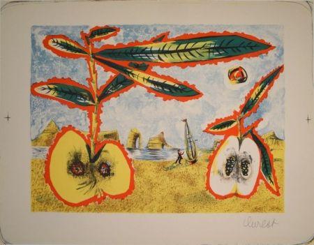 Lithographie Lurcat - Surreale Landschaft mit zwei halben Äpfeln, Zweig und Blättern