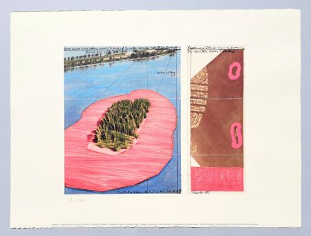 Lithographie Christo - 'Surrounded islands, project for Biscane Bay'