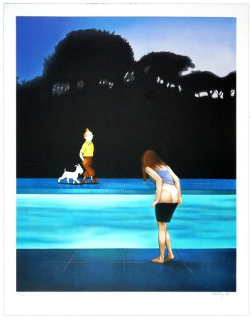 Lithographie Ahlberg - Swimming Pool