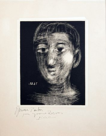 Linogravure Picasso - TÊTE DE GARCON. III. Gravure sur Linoléum (1962)