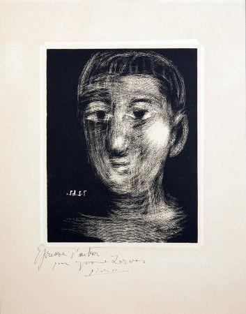 Linogravure Picasso - TÊTE DE GARCON (III). Linogravure. 1962.