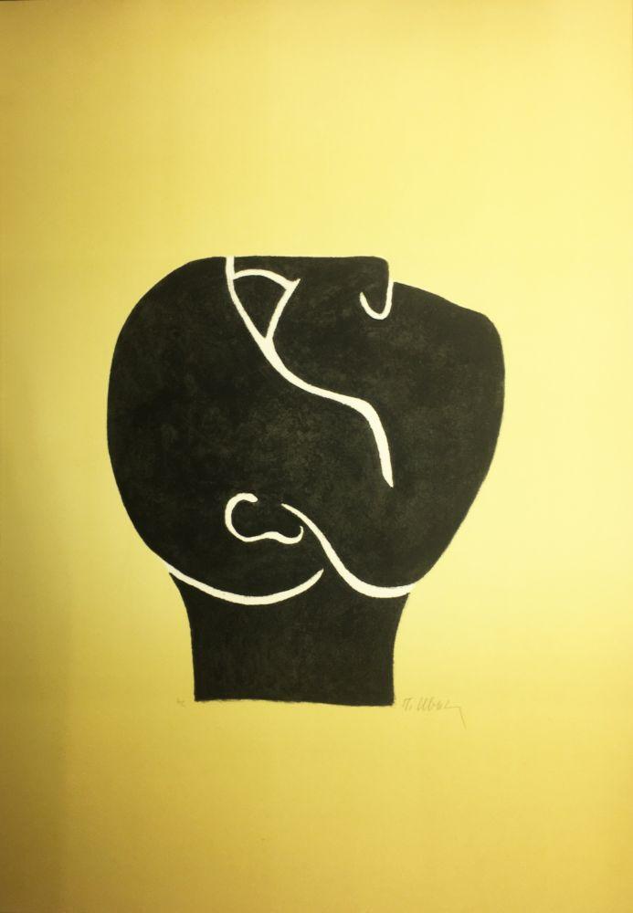 Lithographie Ubac - TÊTE LEVÉE . Lithograpie originale signée au crayon (1982).